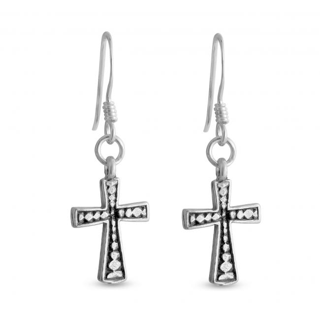 925 sterling silver earrings Black Cross