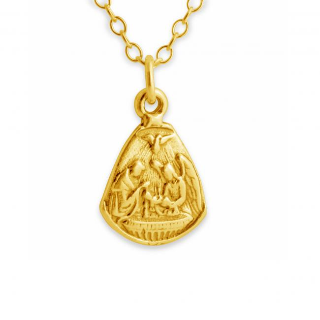 Gold plated necklace Baby Jesus and Angels Medallion Christmas Nativity Scene