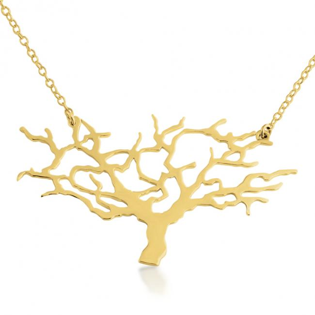Gold plated necklace Tree of Life Silhouette Sideways