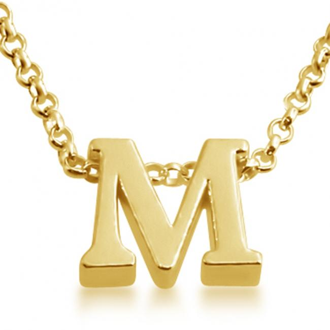 Gold plated necklace Initial Letter M Personalized Symbols & Letters Serif Font
