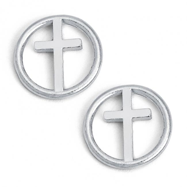 925 sterling silver earrings Cross in Circle