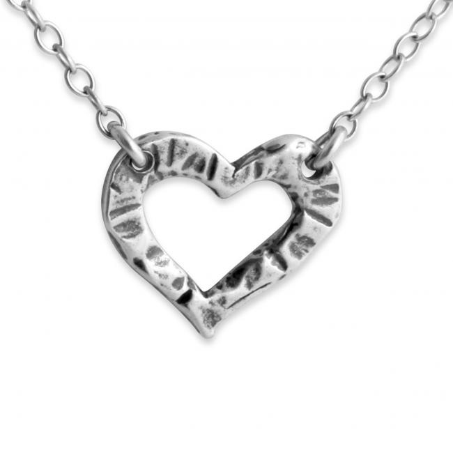 925 sterling silver necklace Hammered Heart Jump Ring Necklace