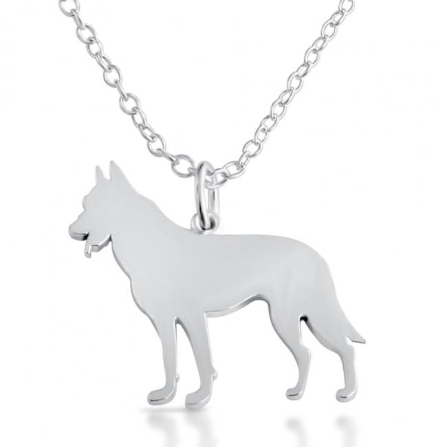 925 sterling silver necklace German Shepherd (Silhouette)