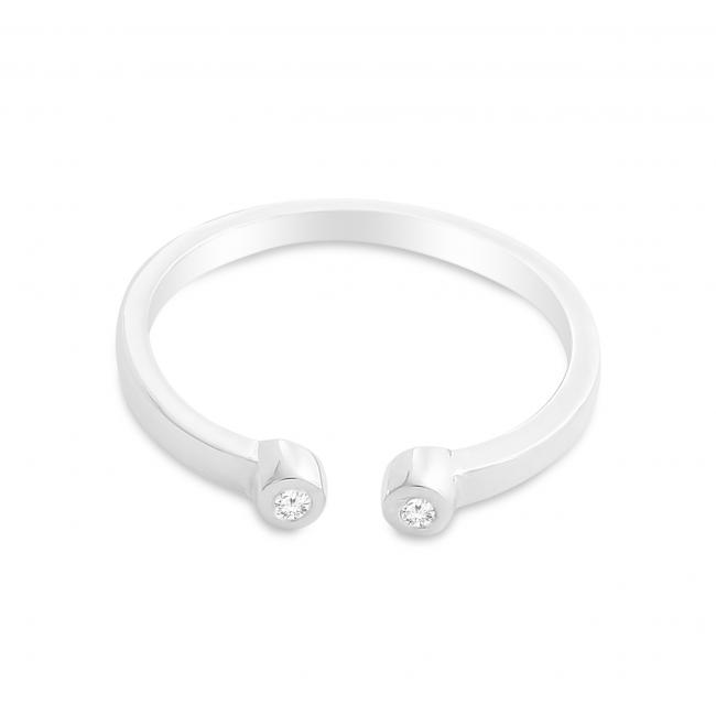 925 sterling silver ring Dual Round CZ Plain Open Adjustable Ring
