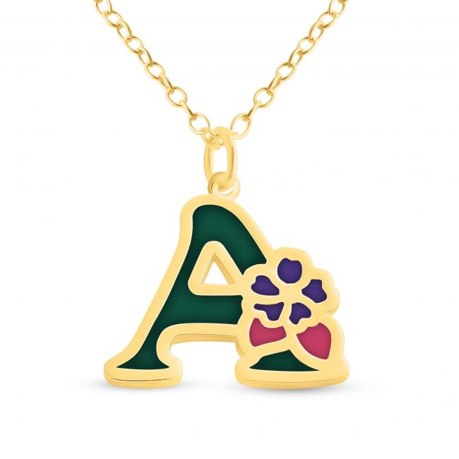 Gold plated necklace Colored Initial Letter A with Flower