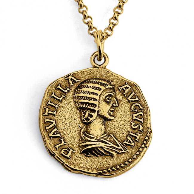 Gold plated necklace Replica Plautilla Roman Imperial Ancient COIN