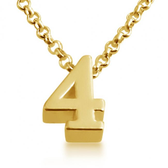 Gold plated necklace Initial Letter 4 Personalized Symbols & Letters Serif Font