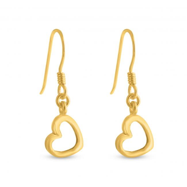 Gold plated earrings Hanging Hearts