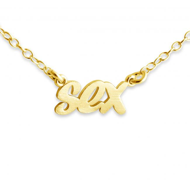 Gold plated necklace SEX (Script Word)