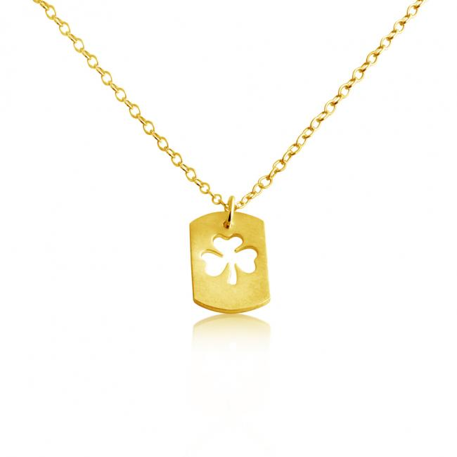 Gold plated necklace 3-Leaf Clover Dog Tag Pendant