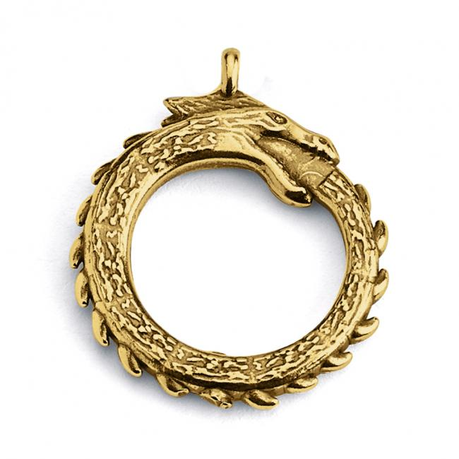 Gold plated necklace Ouroboros Dragon Eating Tail Double Sided