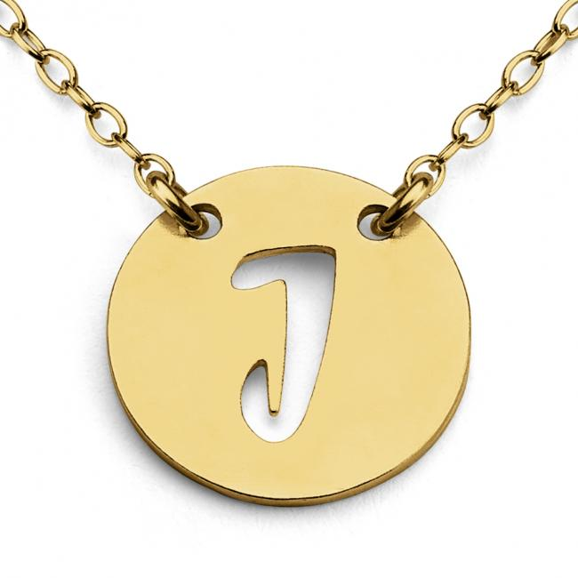 Gold plated necklace J Open Letter