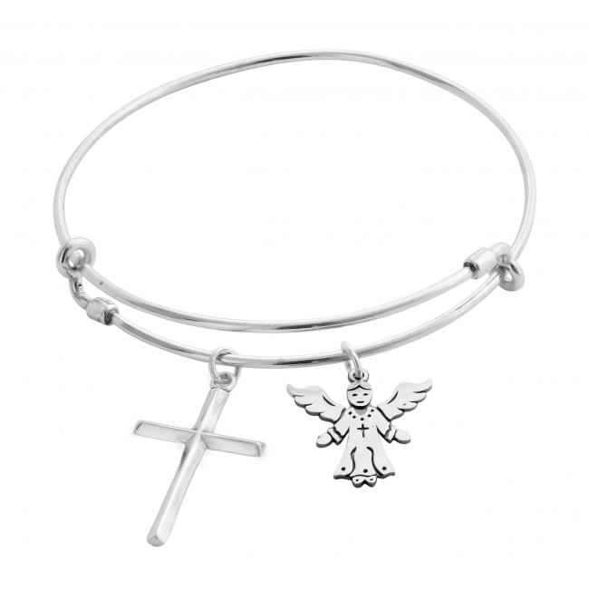 925 sterling silver bracelet Angel's Blessing Adjustable Wire Bangle
