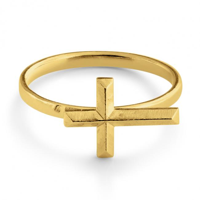 Gold plated ring Sideways Bevel Cross