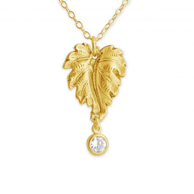 Gold plated necklace Grape Leaf with Dangle CZ