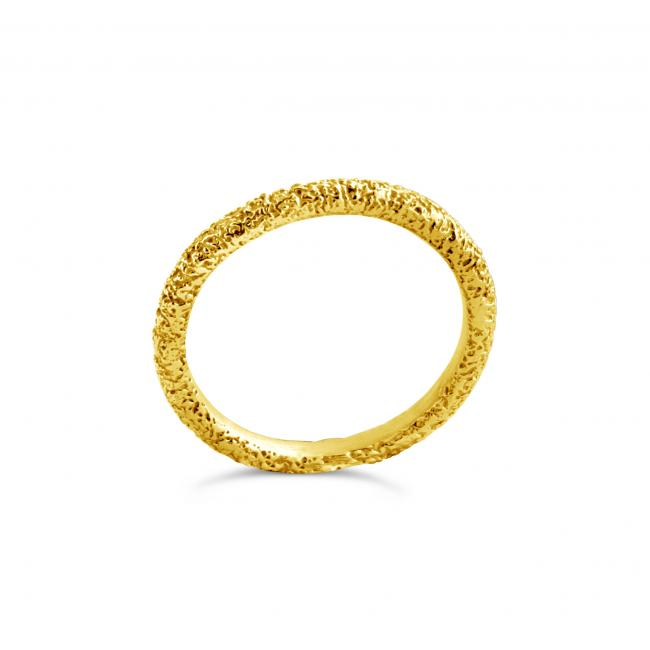 Gold plated ring Textured Stackable Ring