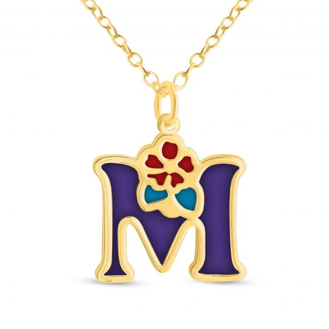 Gold plated necklace Colored Initial Letter M with Flower