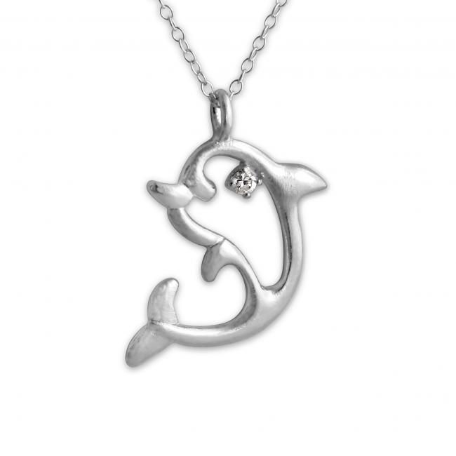925 sterling silver necklace Dolphin w/ CZ Eye