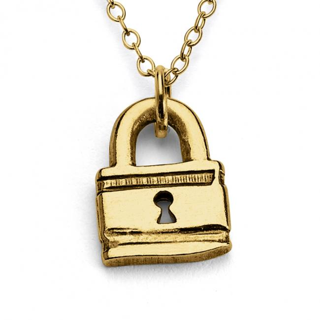 Gold plated necklace Little Love Lock Double Sided