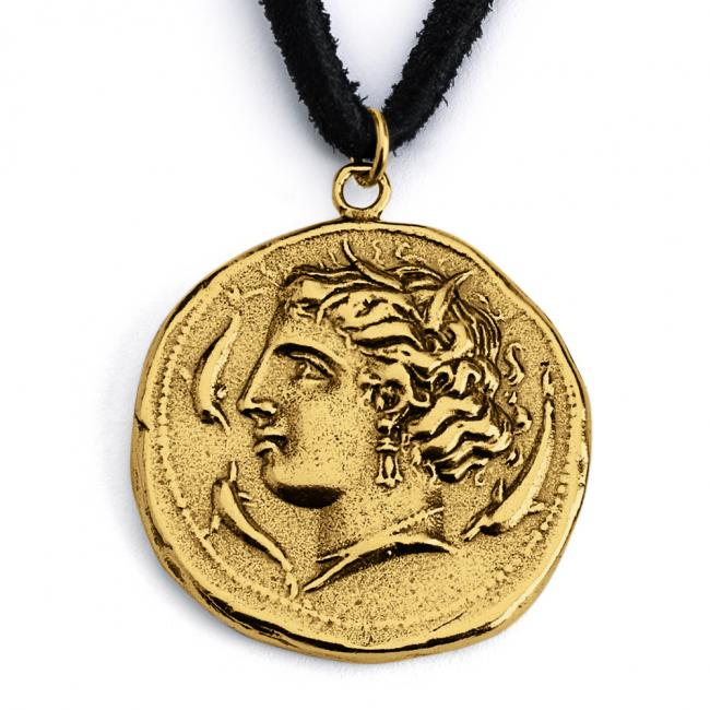 Gold plated necklace Replica Arethusa Nymph Greek Ancient COIN