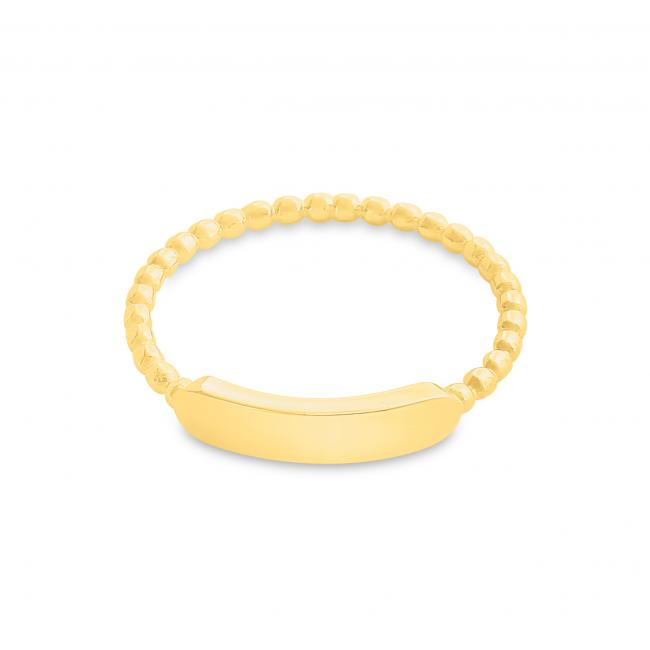 Gold plated ring Plain Horizontal Bar with Textured Band Ring