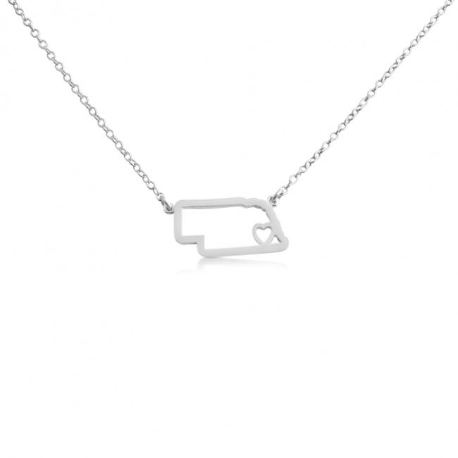 925 sterling silver necklace Nebraska Home is Where The Heart Is State Necklace