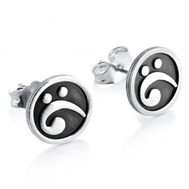 925 sterling silver earrings Bass Clef