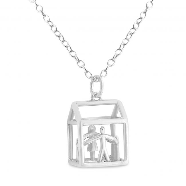 925 sterling silver necklace 3D Loving Family House Mother, Father and Two Children Holding Hands