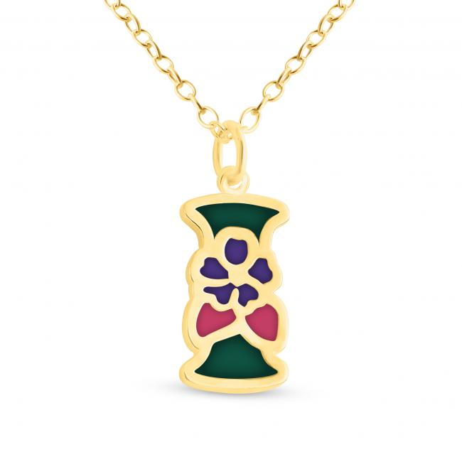Gold plated necklace Colored Initial Letter I with Flower