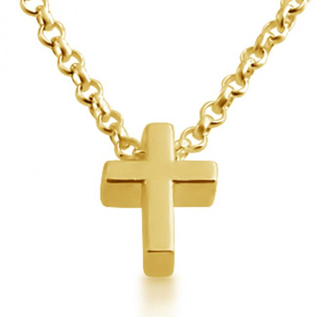 Gold plated necklace Initial Letter Cross Personalized Symbols & Letters Serif Font
