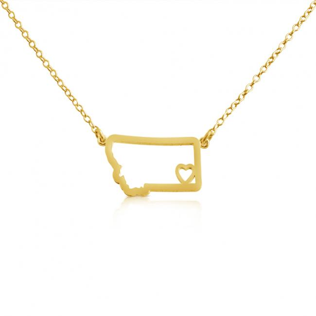 Gold plated necklace Montana Home is Where The Heart Is State Necklace