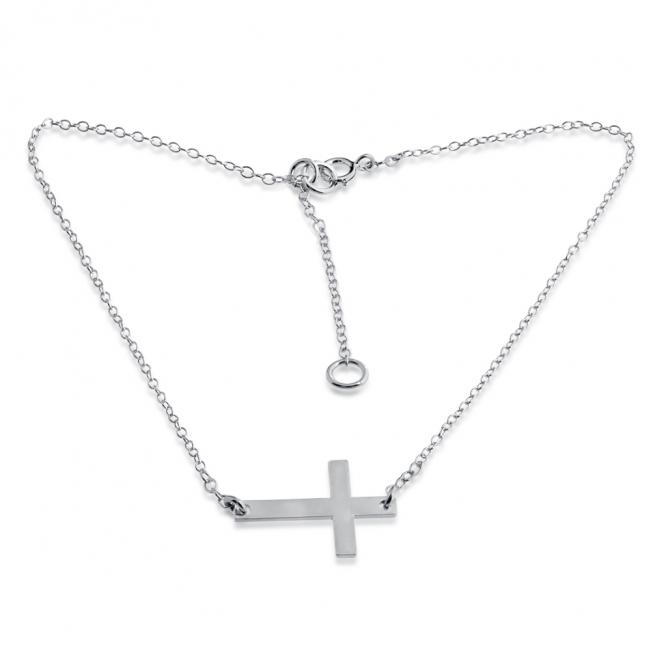 925 sterling silver anklet Sideways Cross Pendant Charm
