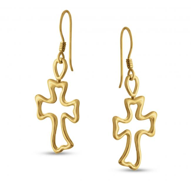 Gold plated earrings Outline Cross Hook