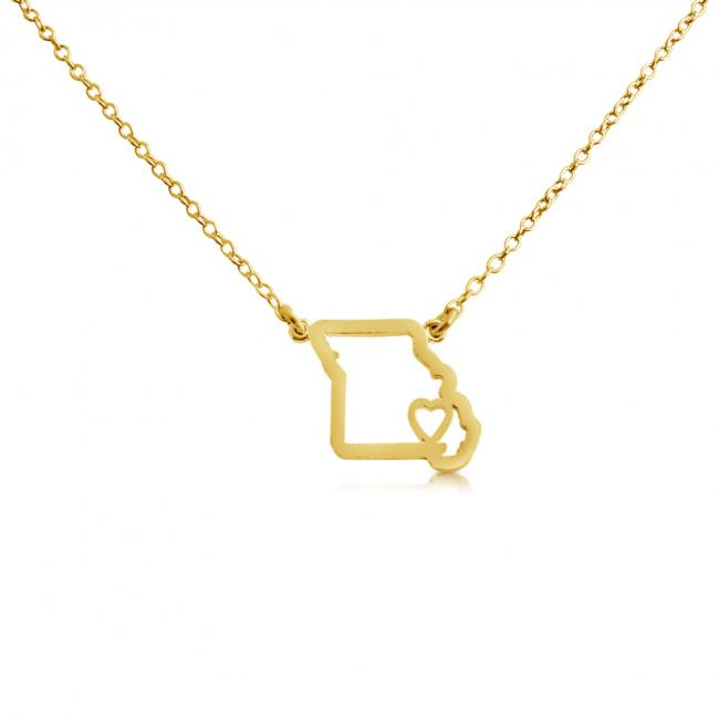 Gold plated necklace Missouri Home is Where The Heart Is State Necklace