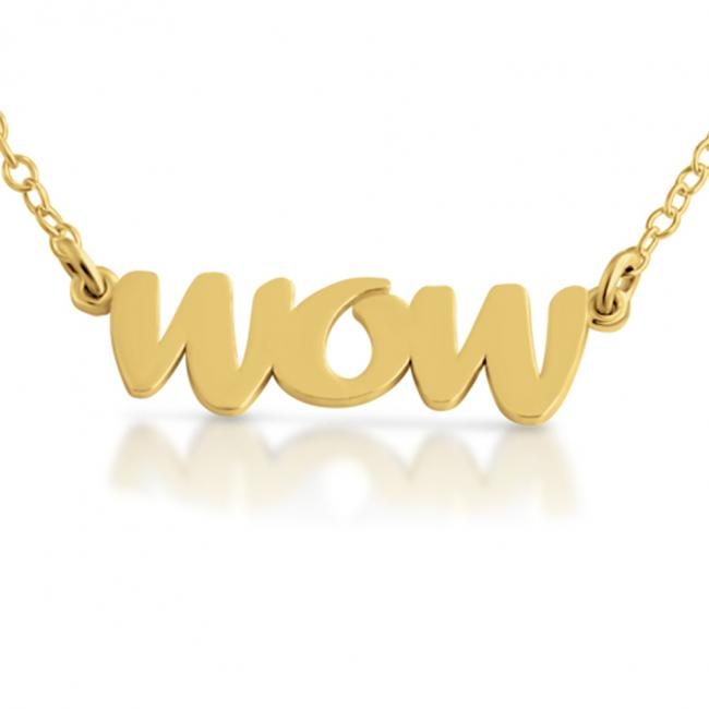Gold plated necklace WOW (Script Word)
