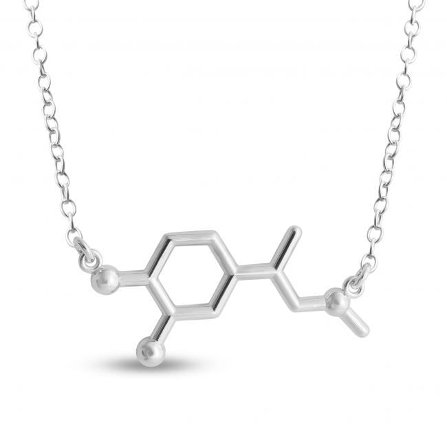 925 sterling silver necklace Adrenaline Molecule Fight or Flight Hormone Chemical Structure