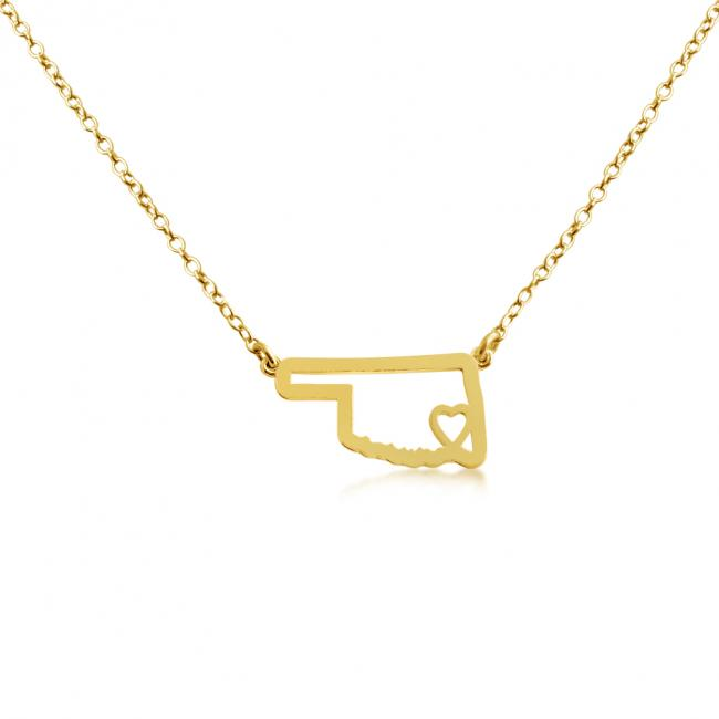 Gold plated necklace Oklahoma Home is Where The Heart Is State Necklace