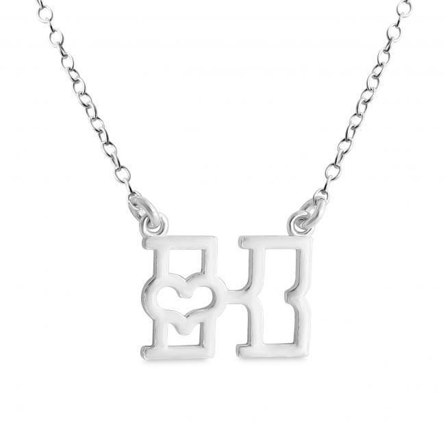 925 sterling silver necklace Initial Letter K with Heart Sideways