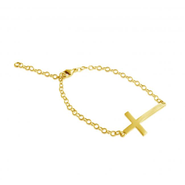 Gold plated bracelet Bent Cross