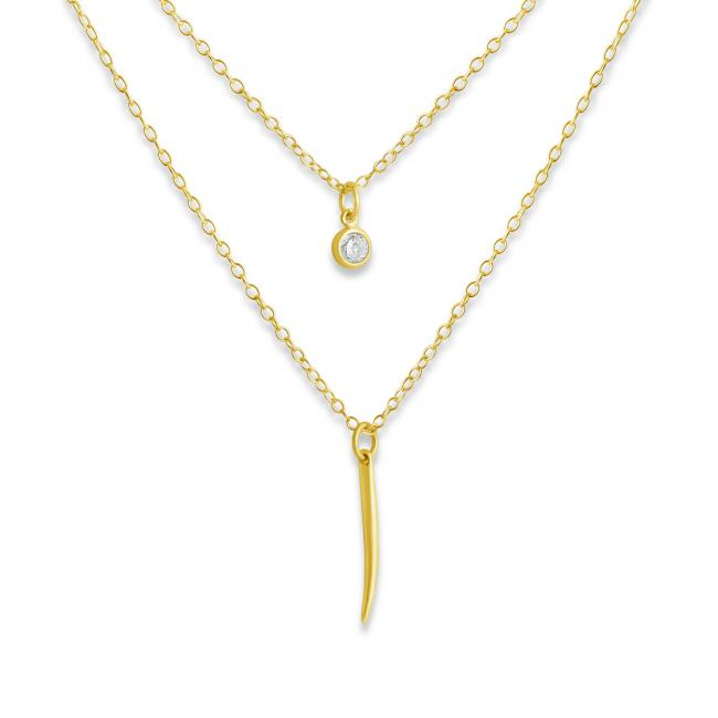 Gold plated necklace Tiny Spike and CZ w/ Double Chain