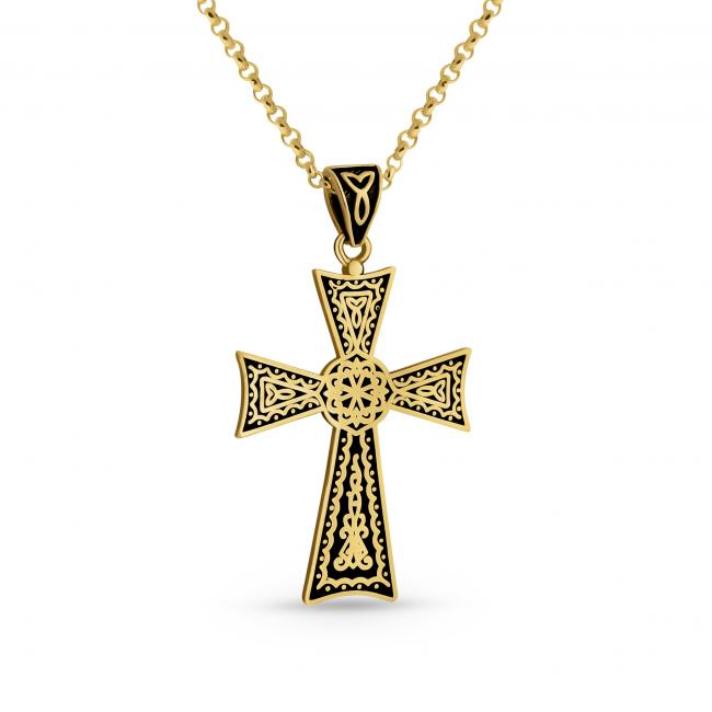 Gold plated necklace Black Celtic Cross