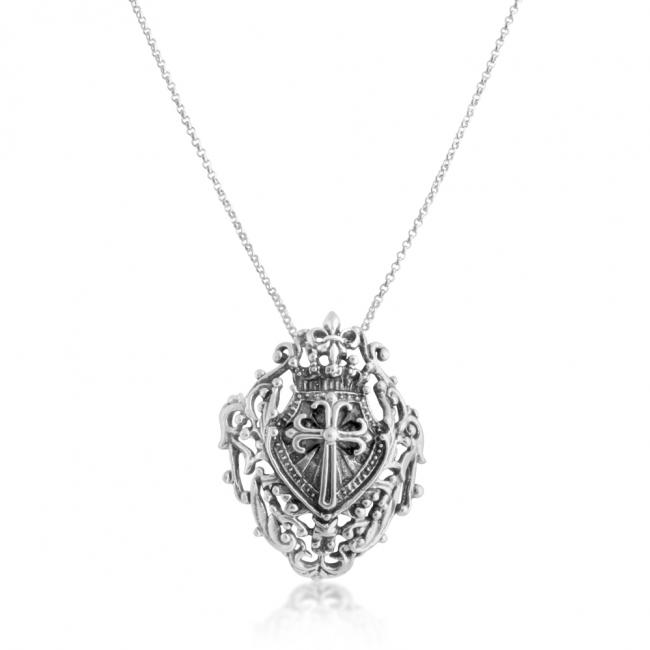 925 sterling silver necklace Royal Shied w/ Cross