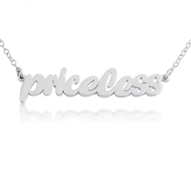 925 sterling silver necklace PRICELESS (Script Word)