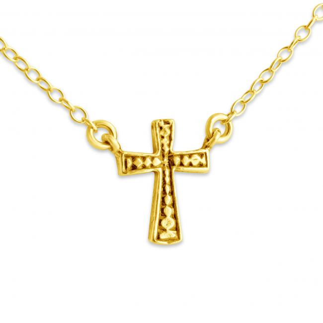 Gold plated necklace 3D Cross Jump Ring Necklace
