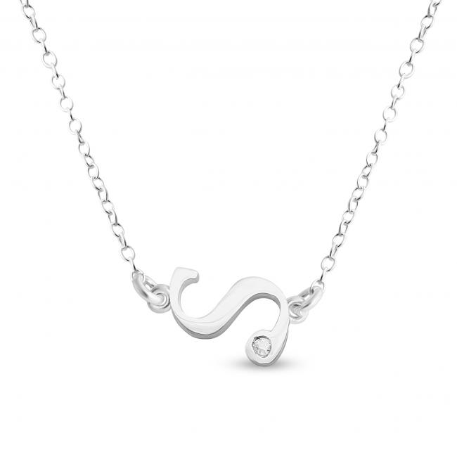 925 sterling silver necklace Initial Script Letter S with CZ Sideways