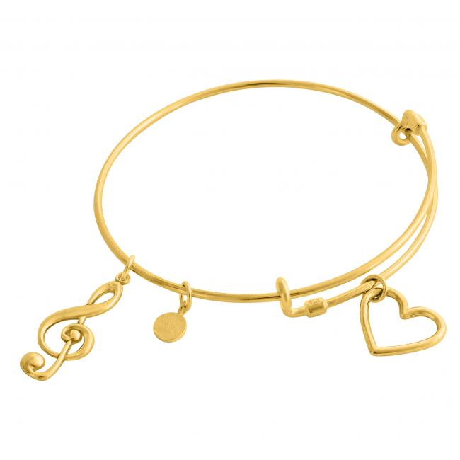 Gold plated bracelet Musician's Soul Adjustable Wire Bangle
