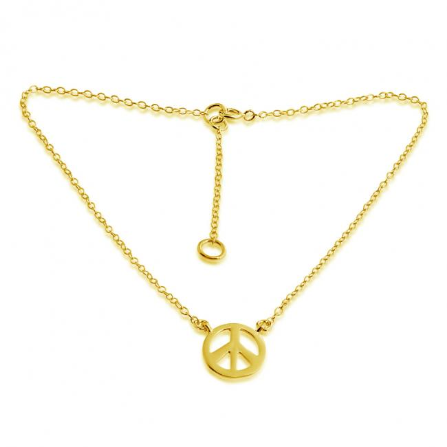 Gold plated anklet Vinage Style Peace Sign Symbol Charm Pendant