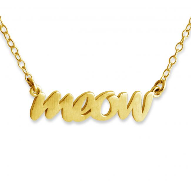Gold plated necklace MEOW (Script Word)
