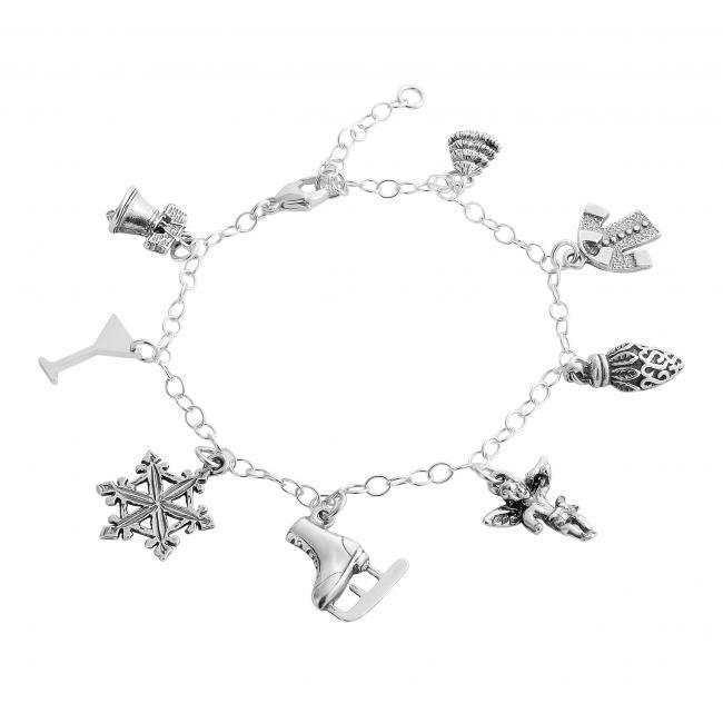 925 sterling silver bracelet Christmas Spirit Multi Charm