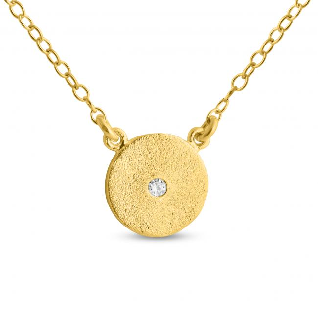 Gold plated necklace Cute Textured Disk w/ CZ Sideways